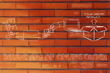 exchanging: delivering an online order: laptops, hands exchanging money and parcel delivered