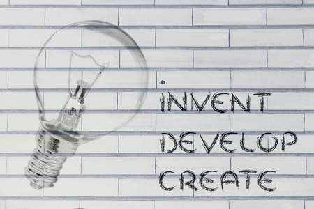 invent: invent, develop and create: trun your ideas into real success (lightbulb illustration)