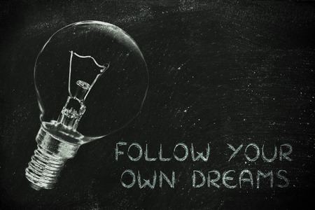 brilliant ideas: brilliant ideas to help you follow your own dreams, illustration with real lightbulb