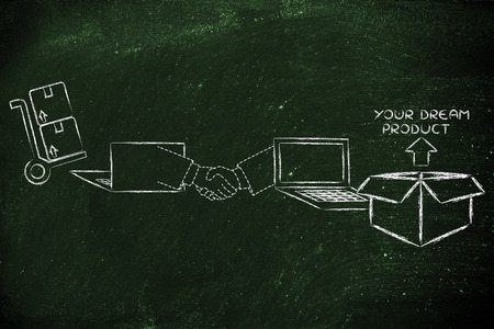 exchanging: money and payments on the web: laptops and virtual hands exchanging banknote