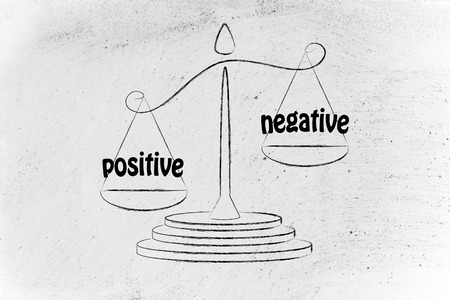 pros: pros versus cons, metaphor of balance measuring the positive and the negative