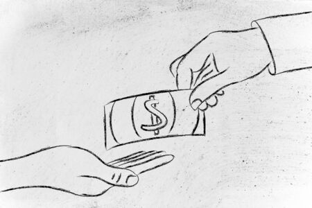 money and payments: hands exchanging banknote Stock Photo