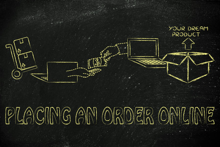 exchanging: placing an order online: laptops, hands exchanging money and parcel delivered