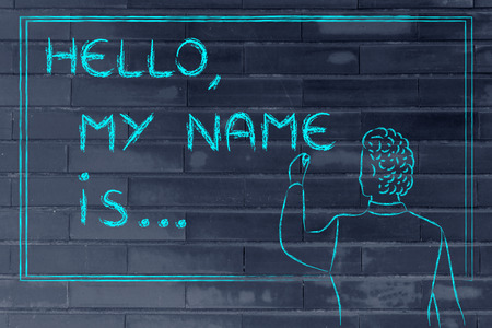 hello my name is: Hello, my name is..., new teacher introducing himself and writing his name on blackboard