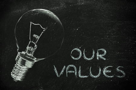 brilliant ideas: the brilliant ideas behind our values, illustration with real lightbulb for institutional communication