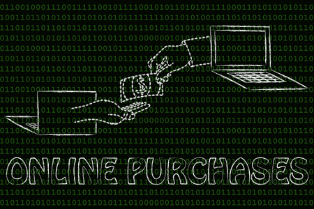 exchanging: online purchases: laptops and virtual hands exchanging banknote