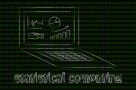 statistical: statistical computing:  laptop screen different types of graphs Stock Photo