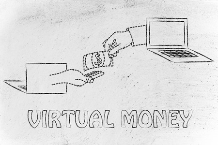 exchanging: money and virtual payments: laptops and hands exchanging banknote