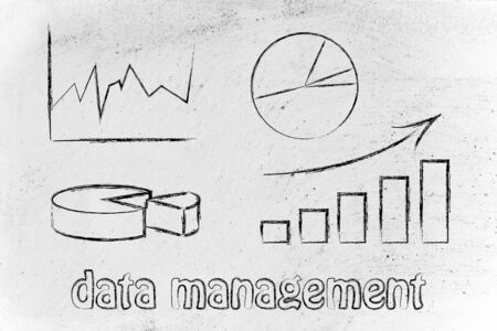 data management: business intelligence and data management: illustration with different types of graphs Stock Photo