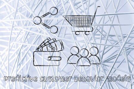 predictive: predittivi modelli di comportamento dei clienti: i clienti, portafogli, carrello della spesa e la condivisione di pulsante Archivio Fotografico