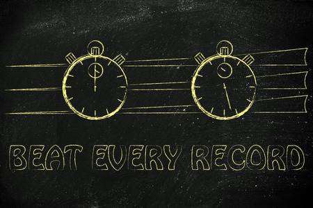 beat the clock: stopwatch start and stop: concept of beating every record