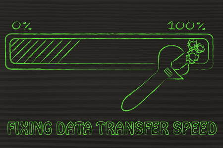 parameter: fixing data transfer speed: progress bar and wrench adjusting parameters Stock Photo