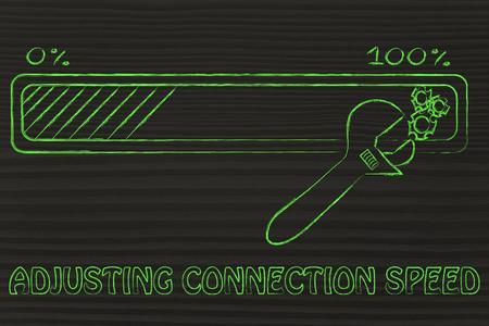 adjusting: adjusting connection speed: progress bar and wrench adjusting parameters