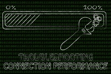 solucion de problemas: rendimiento de la conexi�n de soluci�n de problemas: barra de progreso y los par�metros de la llave de ajuste