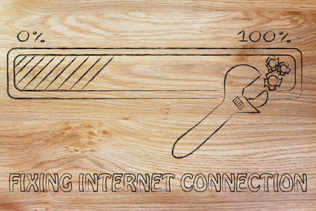 parameters: fixing internet connection: progress bar and wrench adjusting parameters Stock Photo
