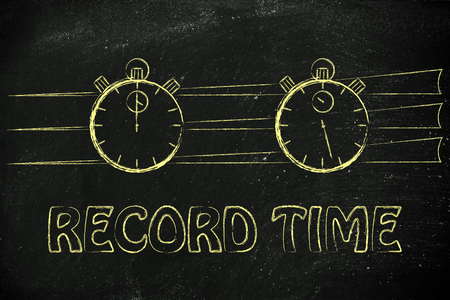 achieving: stopwatch start and stop: concept of achieving goals at record time