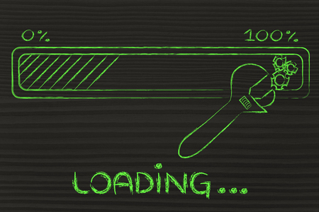 parameter: loading data: progress bar and wrench troubleshooting transfer parameters Stock Photo