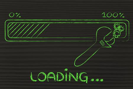 loading data: progress bar and wrench troubleshooting transfer parameters Reklamní fotografie
