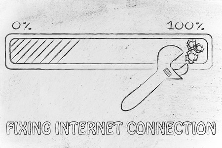 parameter: fixing internet connection: progress bar and wrench adjusting parameters Stock Photo