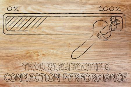 troubleshooting: rendimiento de la conexión de solución de problemas: barra de progreso y los parámetros de la llave de ajuste