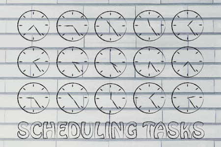 scheduling: scheduling tasks through time: series of clocks showing the hours of the day passing by Stock Photo