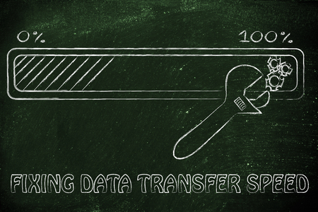 parameters: fixing data transfer speed: progress bar and wrench adjusting parameters Stock Photo