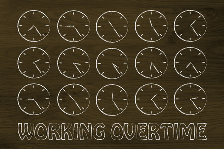 working overtime: series of clocks showing the hours of the day passing by Stock Photo