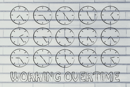 working overtime: working overtime: series of clocks showing the hours of the day passing by Stock Photo