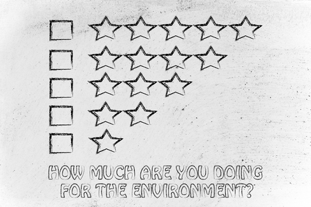 behaviors: how much are you doing for the environment? feedback chart with stars to evaluate ecological behaviors