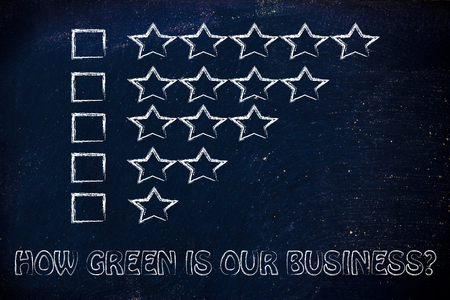 social behaviour: feedback chart with stars to evaluate the corporate social responsibility performance of a business