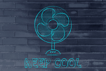 summer heat: keep cool: electric fan design abot fighting the summer heat waves Stock Photo