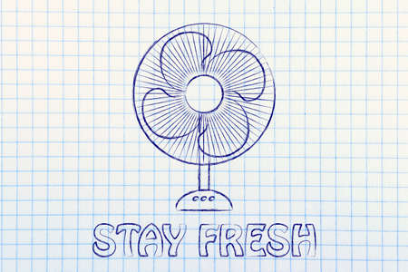 refreshing: stay fresh: funny electric fan design about refreshing during the summer heat wave