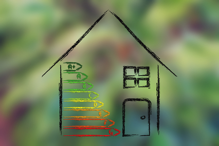 energy consumption: green house and energy consumption performance, illustration on blurred palm tree background