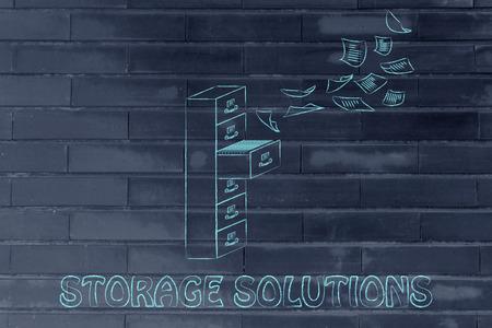 file cabinet: soluciones de almacenamiento: ilustraci�n de un archivador con documentos de vuelo de distancia o volando en ella