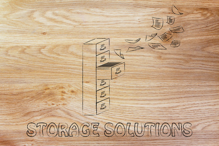 guideline: storage solutions: illustration of a file cabinet with documents flying away or flying into it