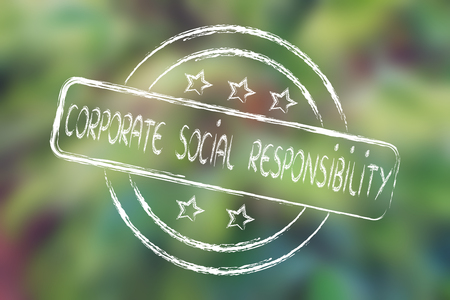 uitstekend: corporate social responsibility, excellent performance stamp (on blurred palm tree background)