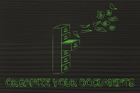 file cabinet: organizar sus documentos: ilustraci�n de un archivador con documentos volar