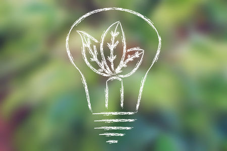 illustration of leaves growing inside a lightbulb, on blurred green palm tree background Stock Photo