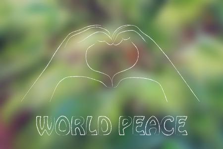 haciendo el amor: manos haciendo señal de corazón, la paz mundial, el respeto y el amor (en la palma blurre fondo del árbol)
