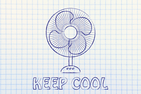 heat wave: keep cool: electric fan design abot fighting the summer heat waves Stock Photo