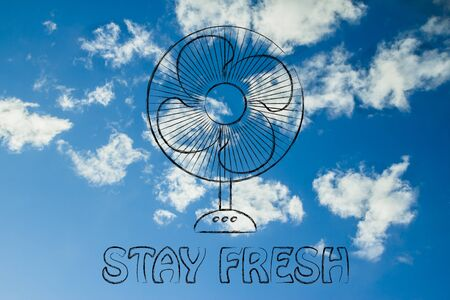 electric fan: stay fresh: funny electric fan design about refreshing during the summer heat wave
