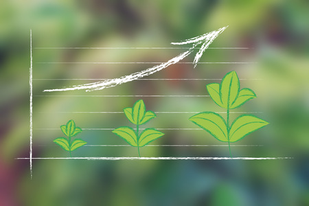 the growth of the green economy, illustration on blurred palm tree background