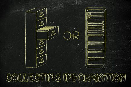 bureacracy: collecting information: in traditional paper archives or servers