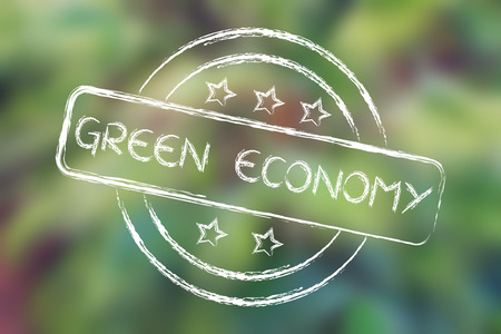 uitstekend: green economy, excellent performance stamp (on blurred palm tree background)