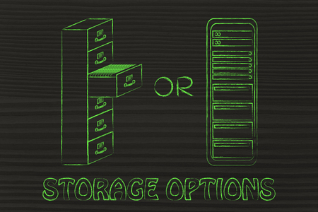 archives: storage options: traditional paper archives or servers Stock Photo