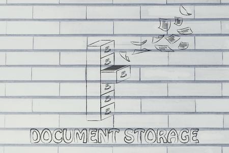 file cabinet: almacenamiento docoment: ilustraci�n de un archivador con documentos de vuelo de distancia o volando en ella