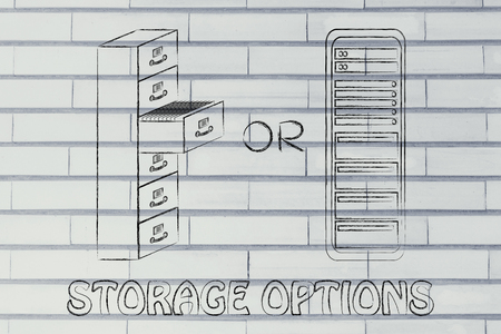 bureacracy: storage options: traditional paper archives or servers Stock Photo