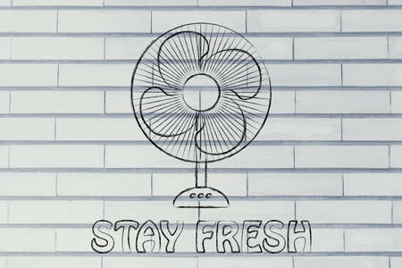 stay fresh: funny electric fan design about refreshing during the summer heat wave