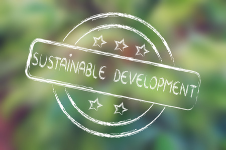 sustainability: sustainable development, excellent performance stamp (on blurred palm tree background)