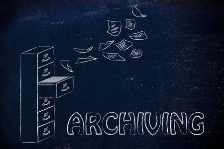 file cabinet: archivo: Ilustraci�n de un archivador con documentos de vuelo de distancia o volando en ella